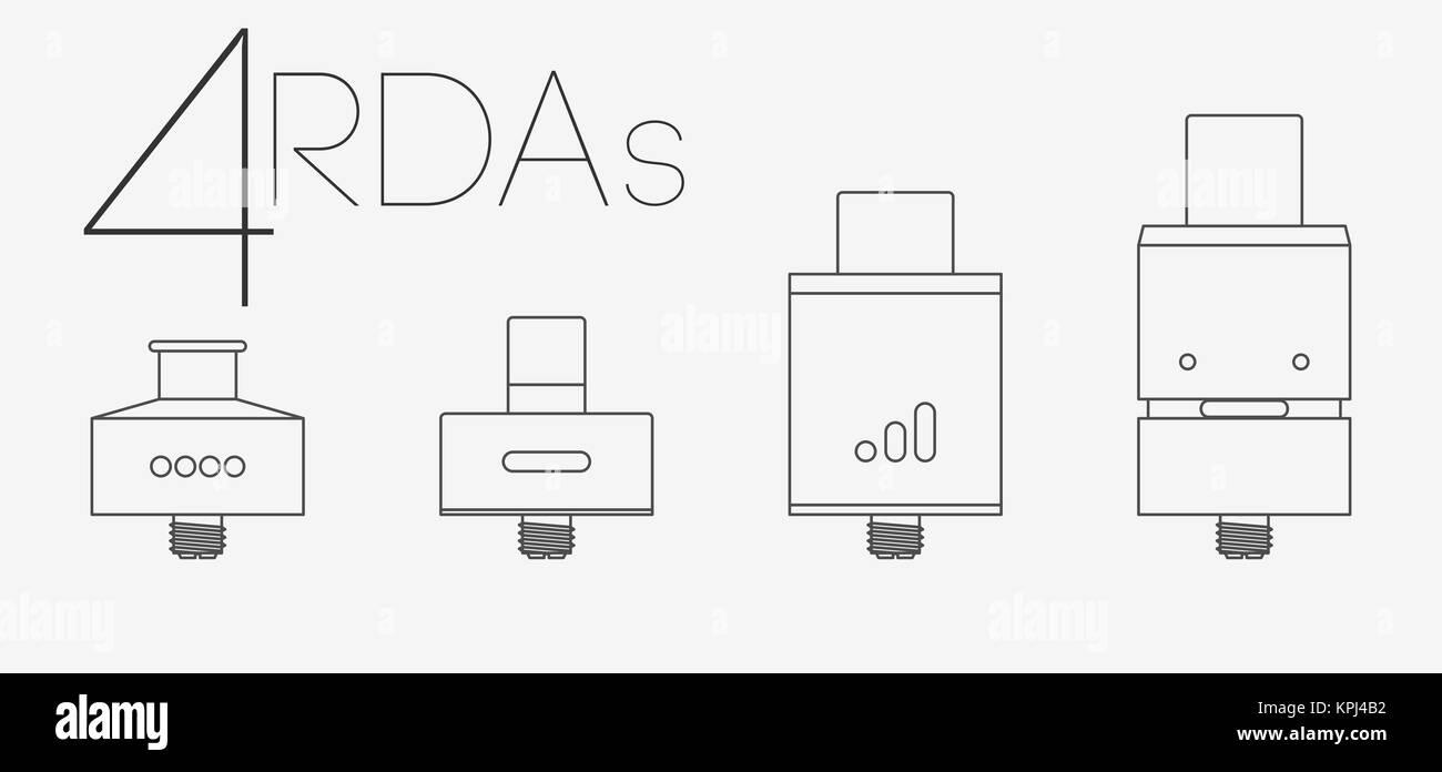 4 thin lines RDAs set - Stock Image