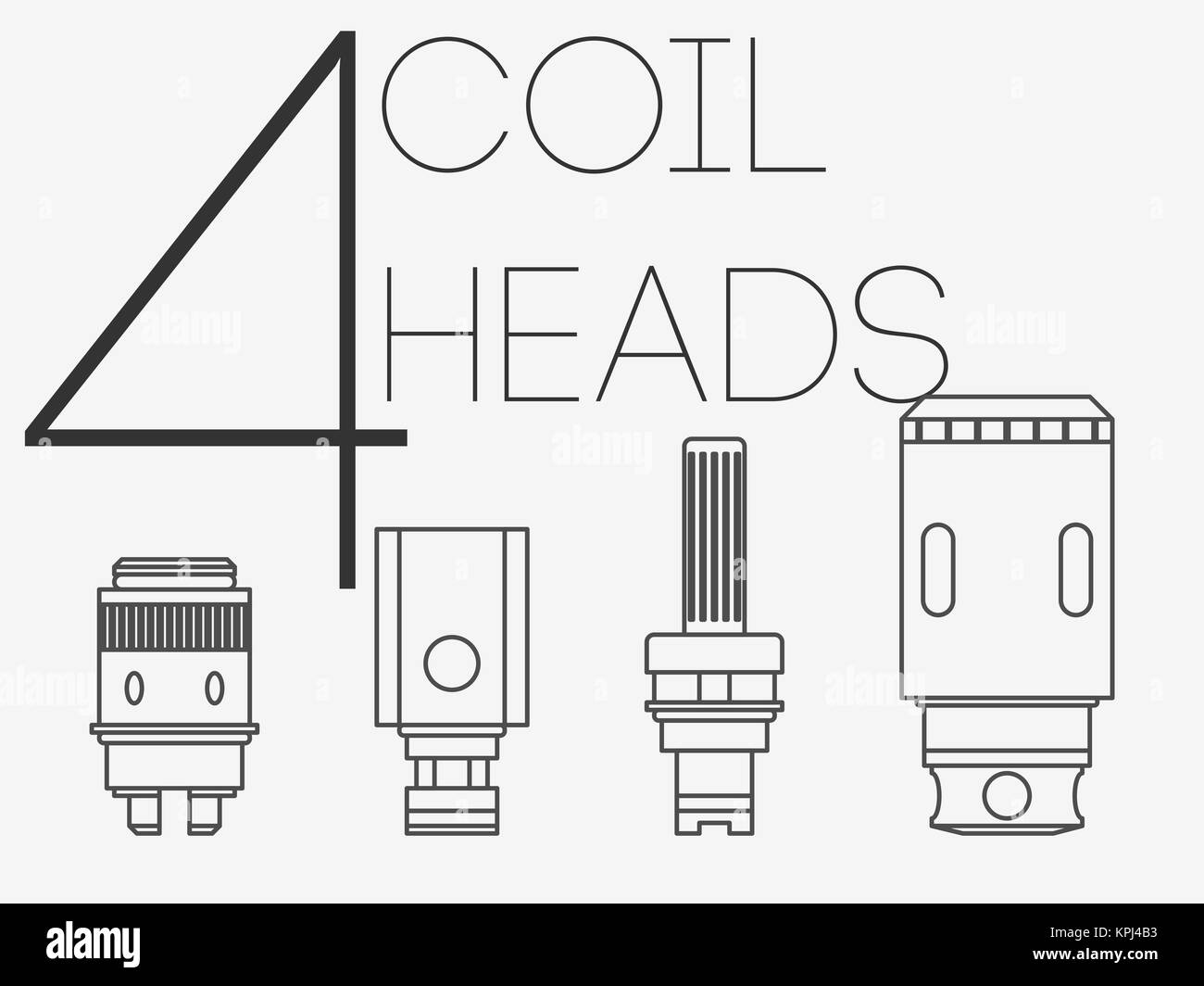 4 thin lines coil heads set - Stock Image