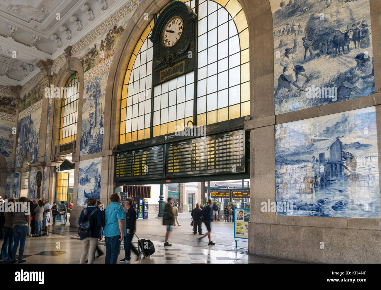 Traditional dececorated tiles ,azulejos, in Sao Bento railway station at Porto, Portugal - Stock Image