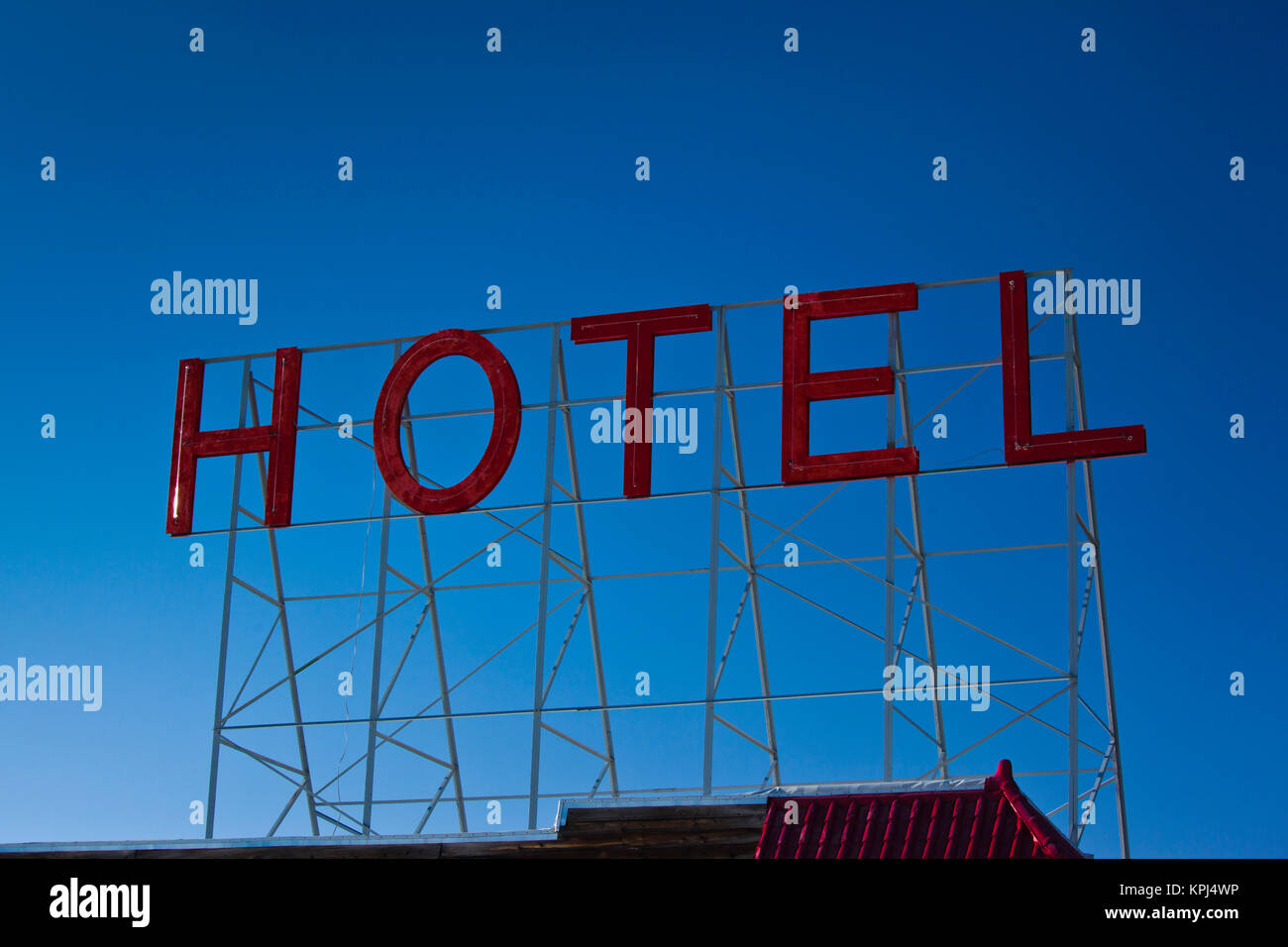 USA, Colorado, Fairplay, hotel sign - Stock Image