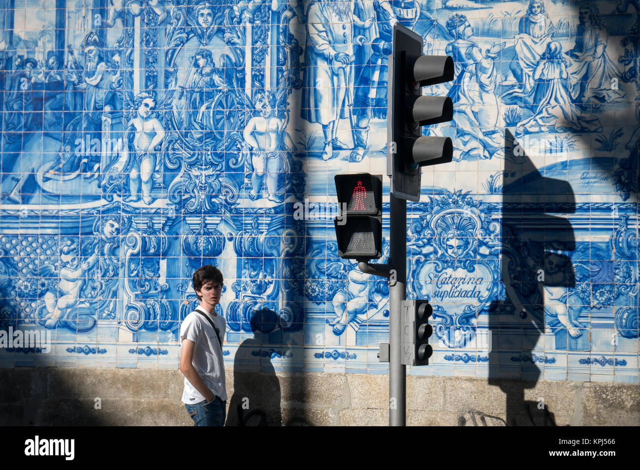 Traditional, blue glazed, dececorated tiles, azulejos,on the exterior of Capela das Almas church, in the centre - Stock Image