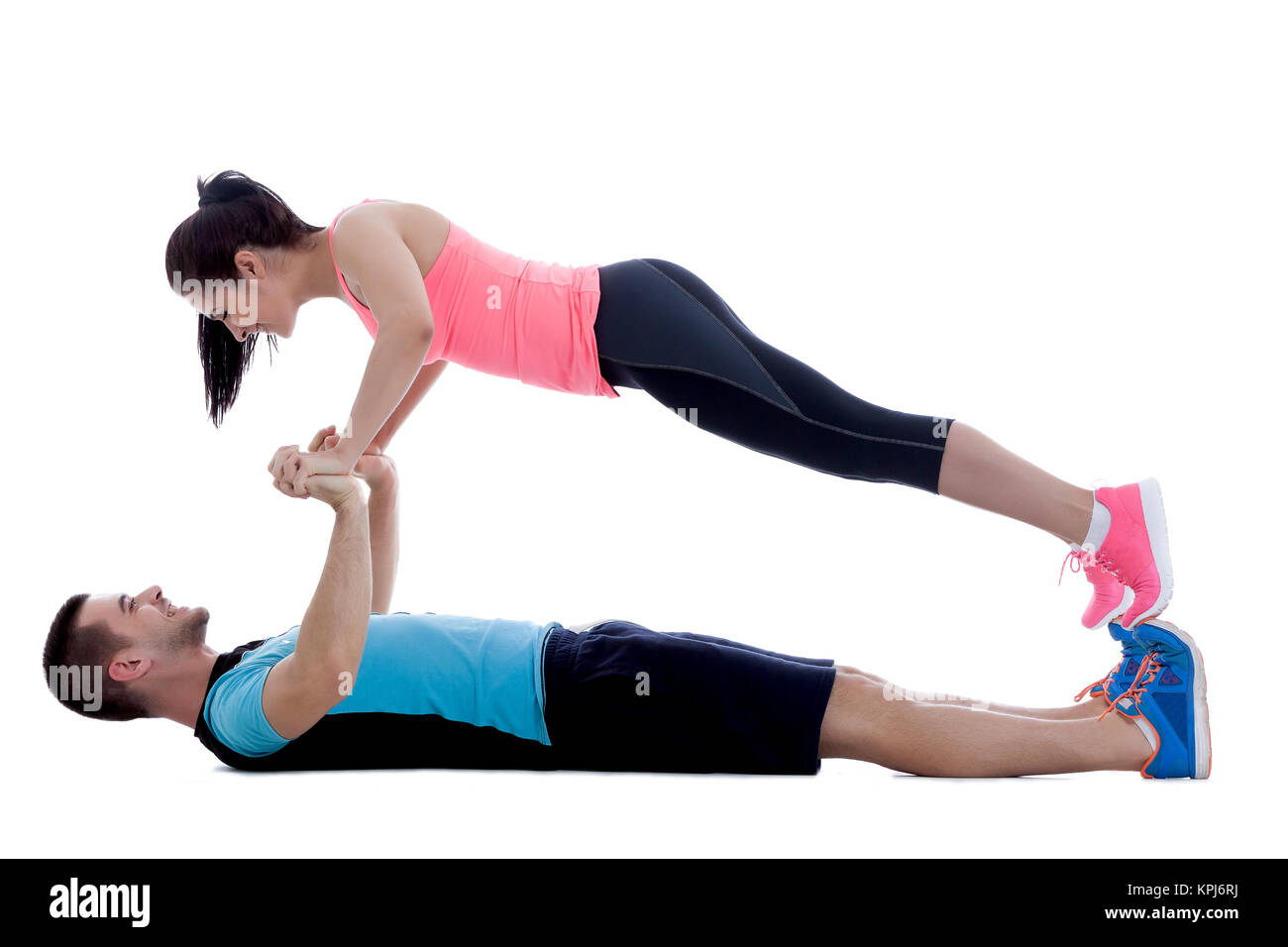 Face to face push-ups - Stock Image
