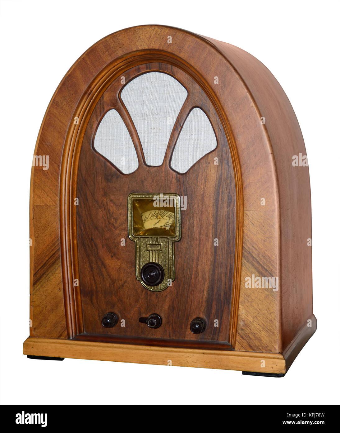 Old wooden retro radio Stock Photo