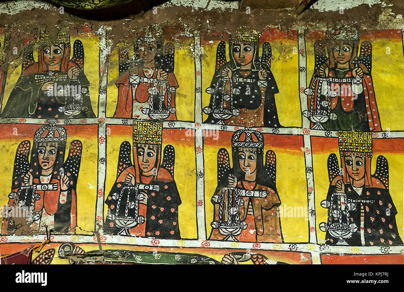 Fresco, Eight of the twenty-four elders of the Apocalypse, rock church Maryam Papaseyti, Gheralta, Tigray, Ethiopia - Stock Image