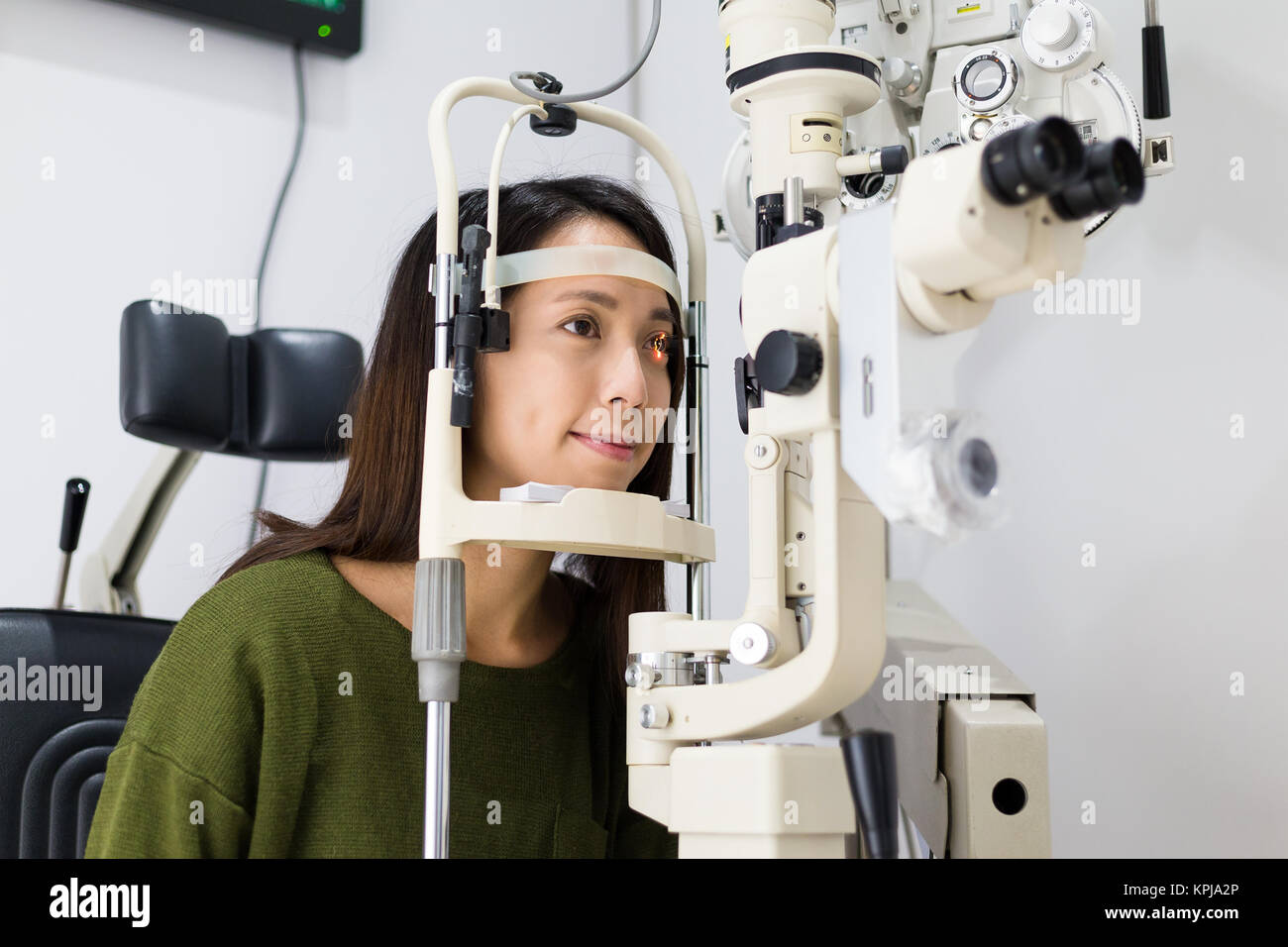 a393167c065c Young woman is having eye exam Stock Photo  168818798 - Alamy