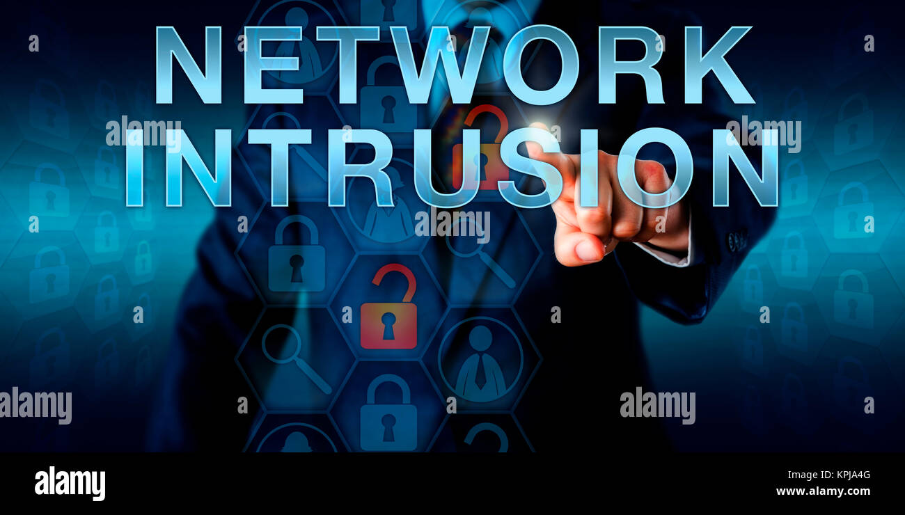 Cybercriminal Intruder Touching NETWORK INTRUSION - Stock Image