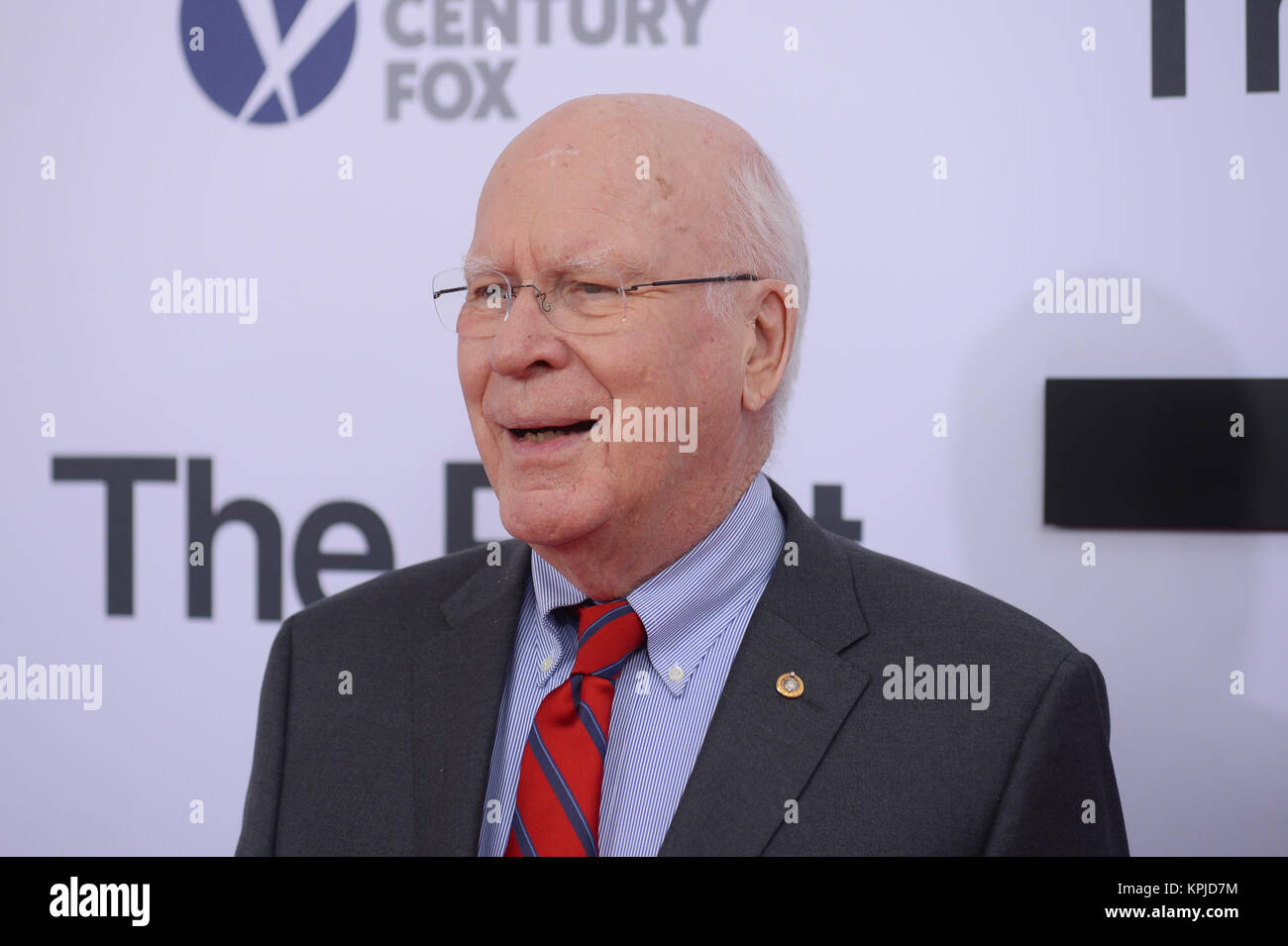 Patrick Leahy arrives at 'The Post' Washington, DC Premiere at The Newseum on December 14, 2017 in Washington, DC. Stock Photo