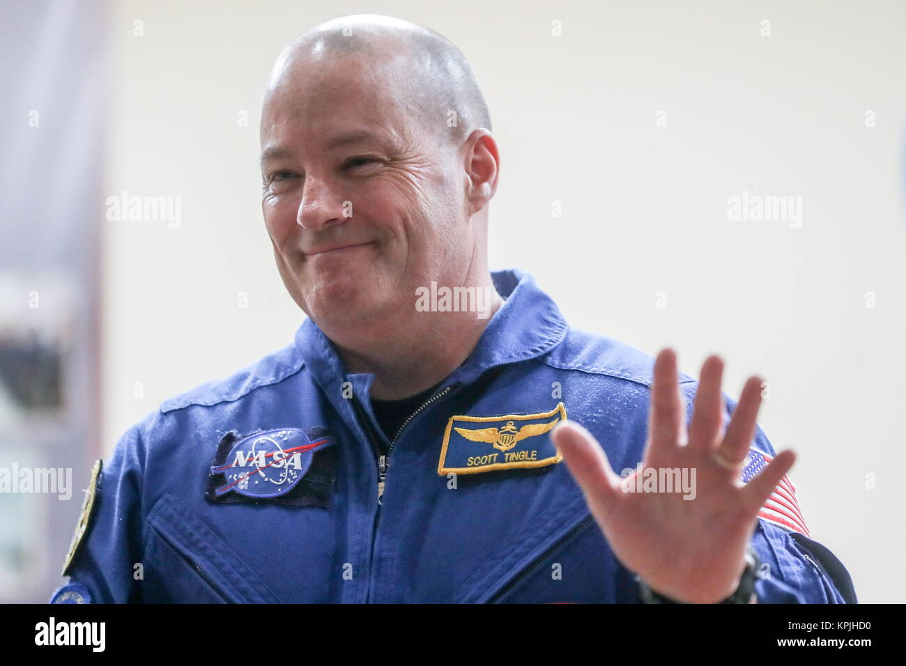Baikonur, Kazakhstan. 16th Dec, 2017. A member of ISS Expedition 54/55 prime crew, US astronaut Scott Tingle of - Stock Image