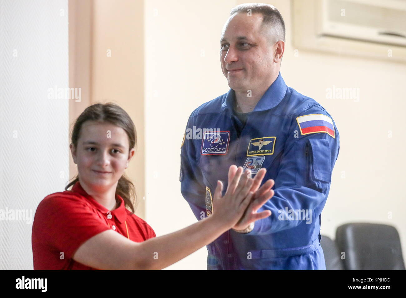 Baikonur, Kazakhstan. 16th Dec, 2017. A member of ISS Expedition 54/55 prime crew, Russian cosmonaut Anton Shkaplerov - Stock Image