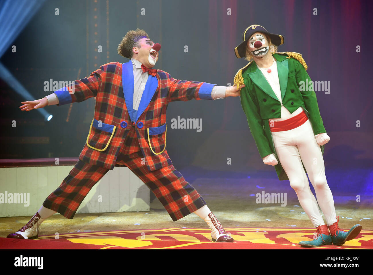 Berlin, Germany. 16th Dec, 2017. The KGB clowns perform at the Tempodrom during the 14th Roncalli Christmas Circus - Stock Image