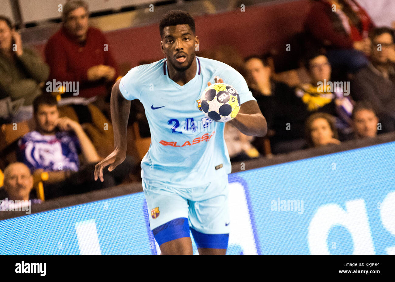 Leon, Spain. 16th December, 2017. Dika Mem (FC Barcelona) in action during the handball match of 2017/2018 Spanish - Stock Image