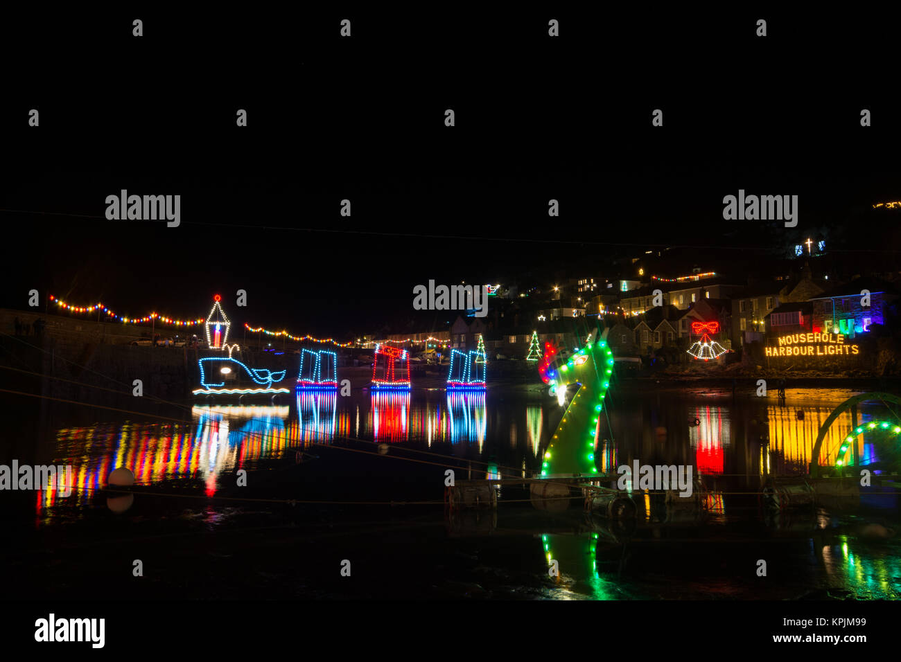 Mousehole, Cornwall, UK. 16th December 2017. This evening saw the 54th turn on of the annual Mousehole Christmas - Stock Image