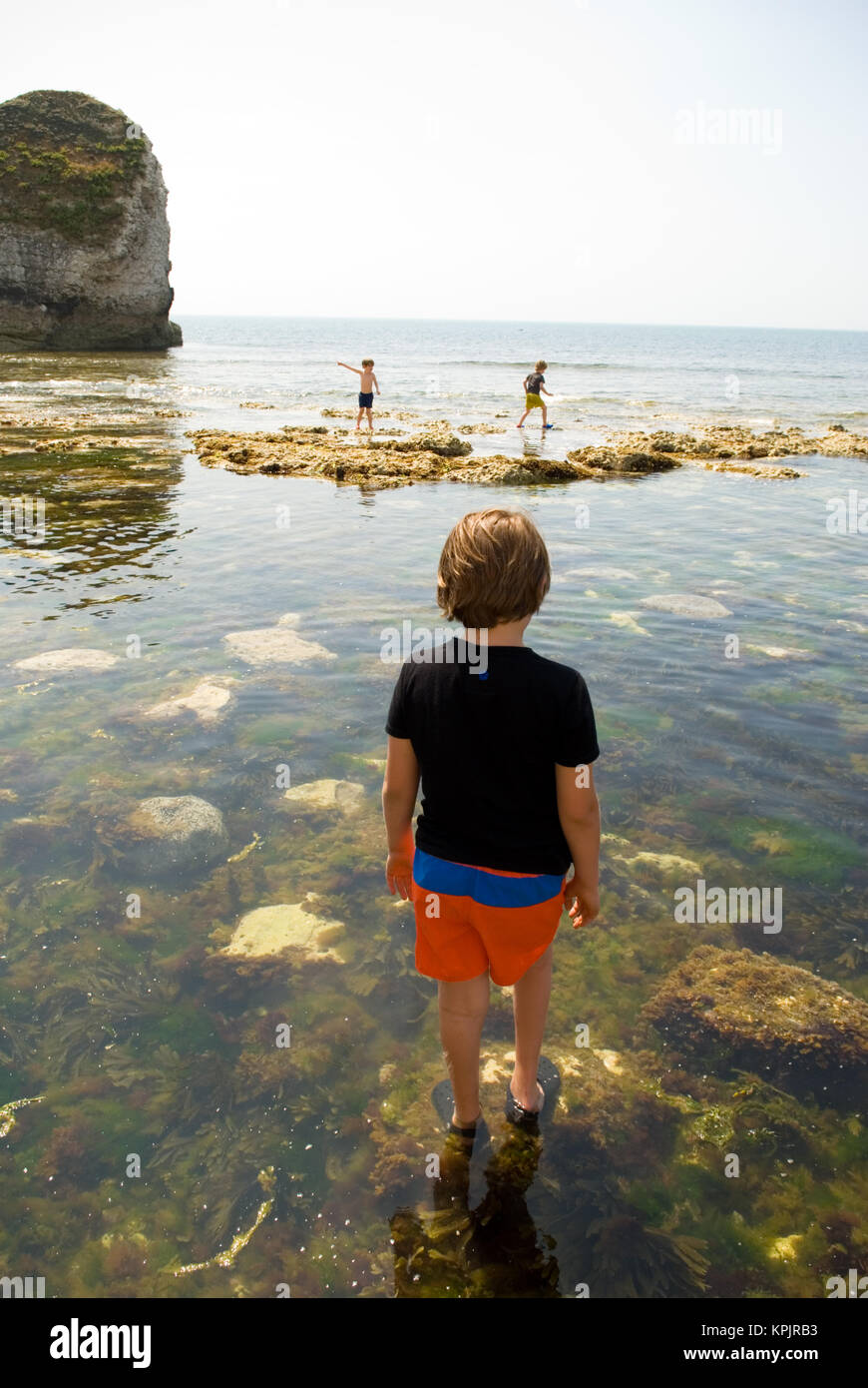 an elder brother watches his two younger siblings scramble over rocks around a multitude of rockpools, Freshwater - Stock Image