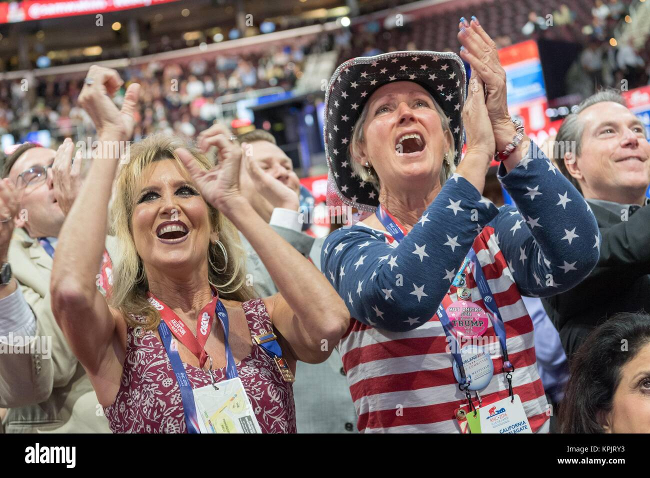 Delegates celebrate the nomination of Donald Trump during the second day of the Republican National Convention July - Stock Image