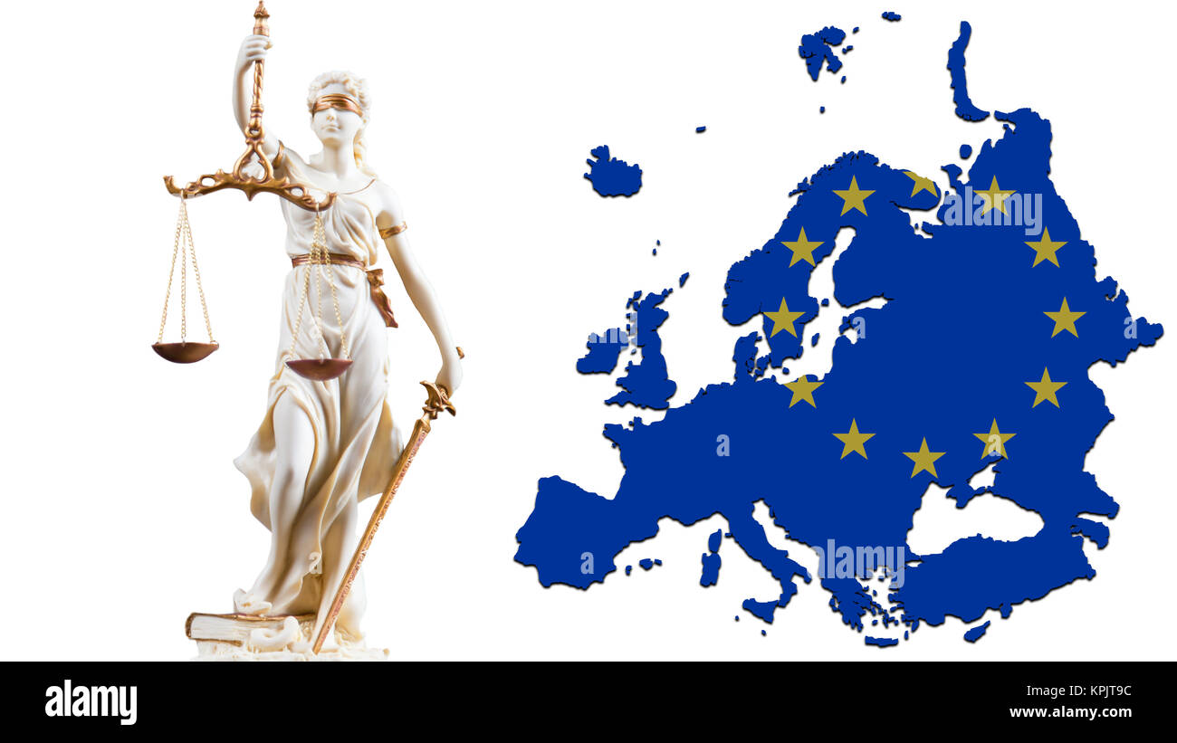 White Justice figure in front of outlines of Europe - Stock Image