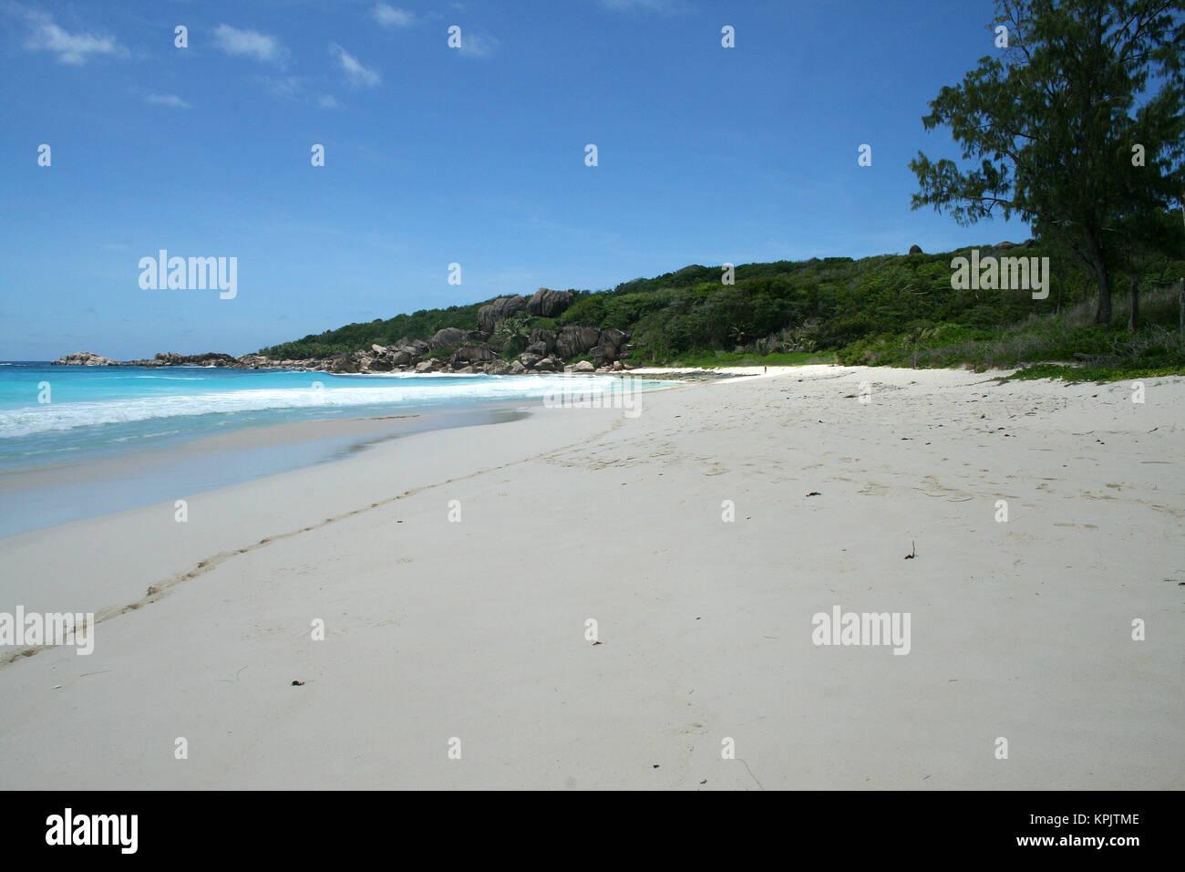 Rocky beach, La Digue Island, Seychelles. Stock Photo