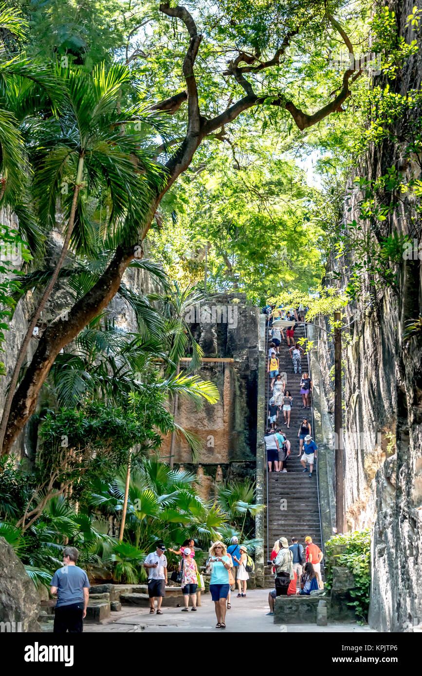Tourists descend Queen's Staircase in the shade of lush trees in Nassau, Bahamas; it's a top tourist activity - Stock Image