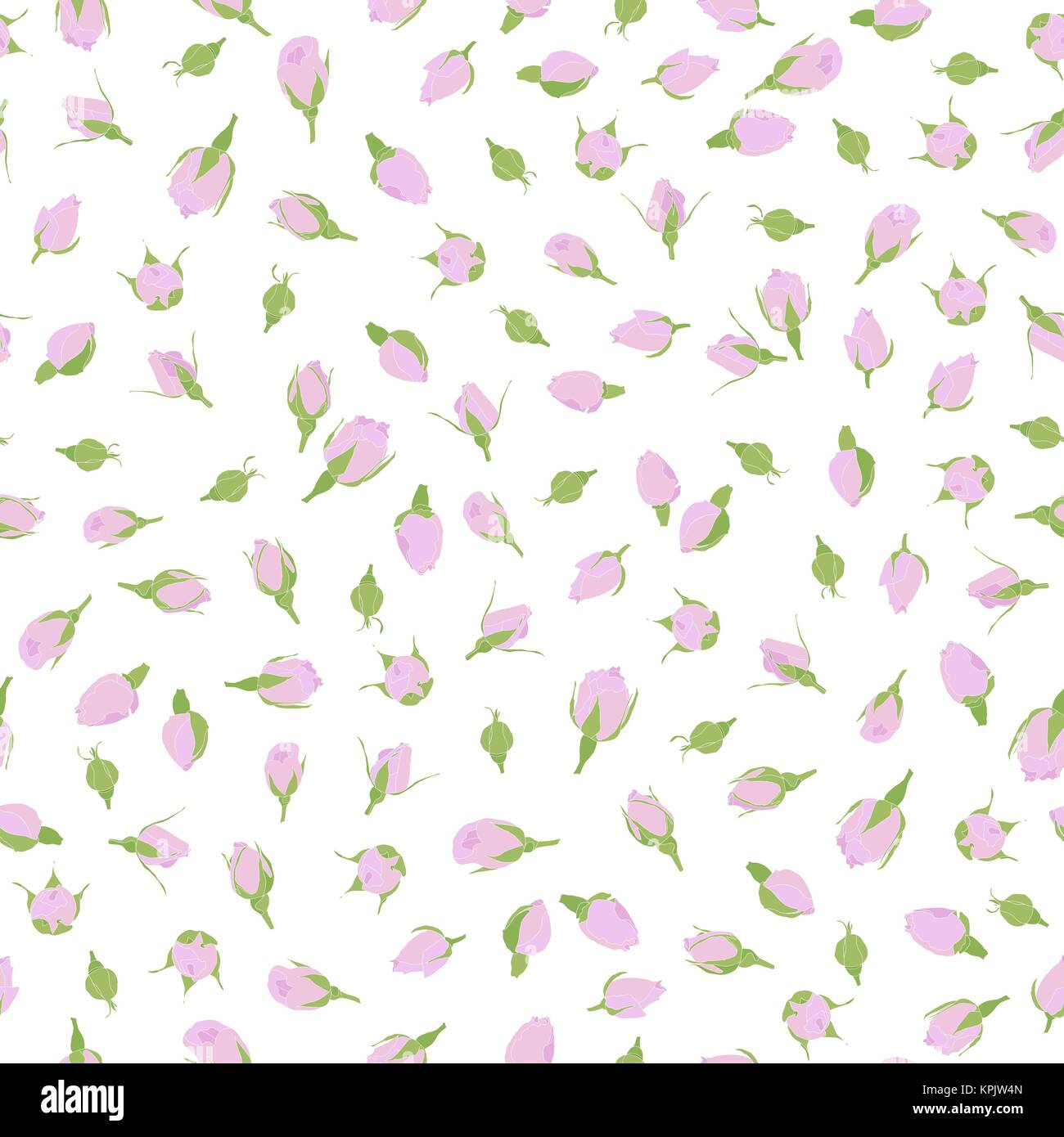 Pink rosebuds seamless pattern. Romantic theme. Floral ornament. Small rose flowers on the white background. For - Stock Vector