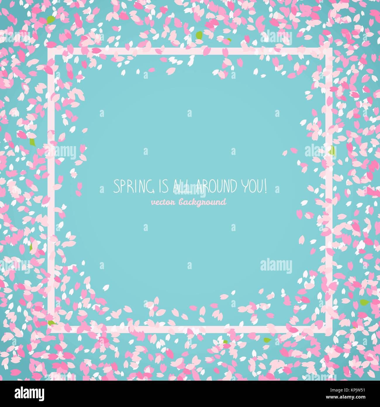 Spring Is All Around You Japanese Sakura Flyer Romantic Poster With Flowers Simple Text Frame Border Floral Scatter Hanami Culture