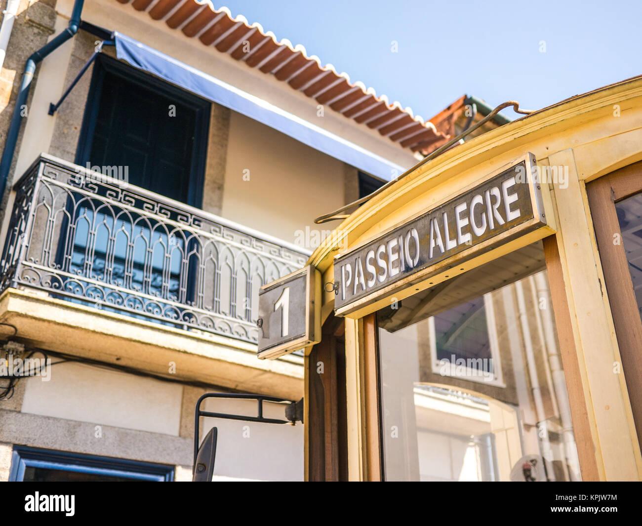 Passeio Alegre tram route in Porto - Stock Image
