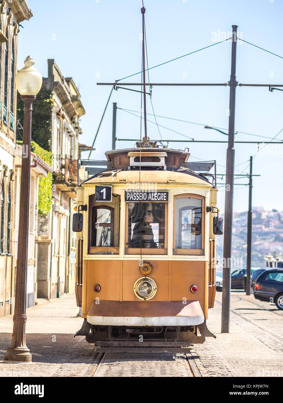 The Famous Passeio Alegre tram route in Porto - Stock Image