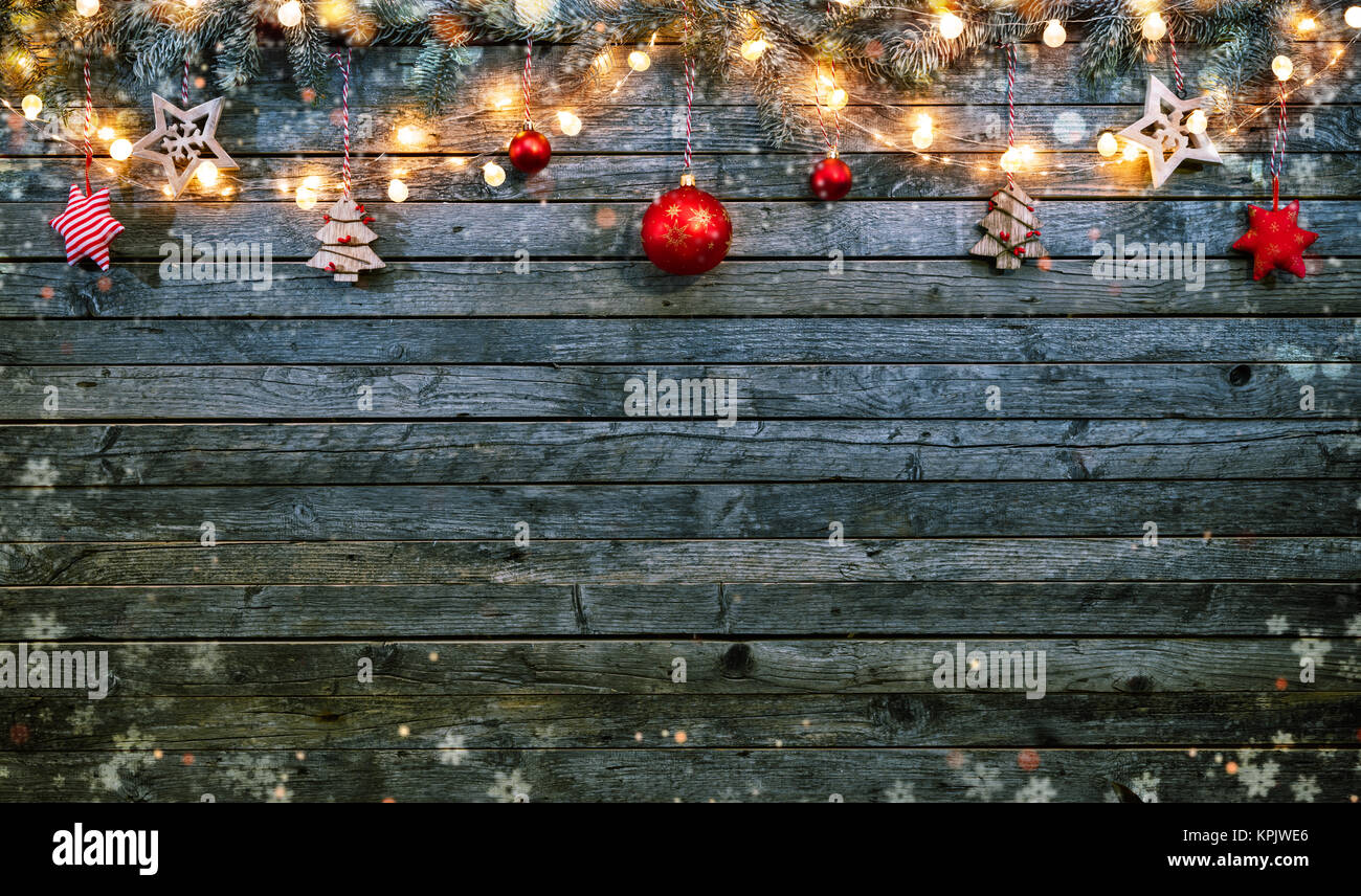 Christmas Background With Wooden Decorations And Spot Lights