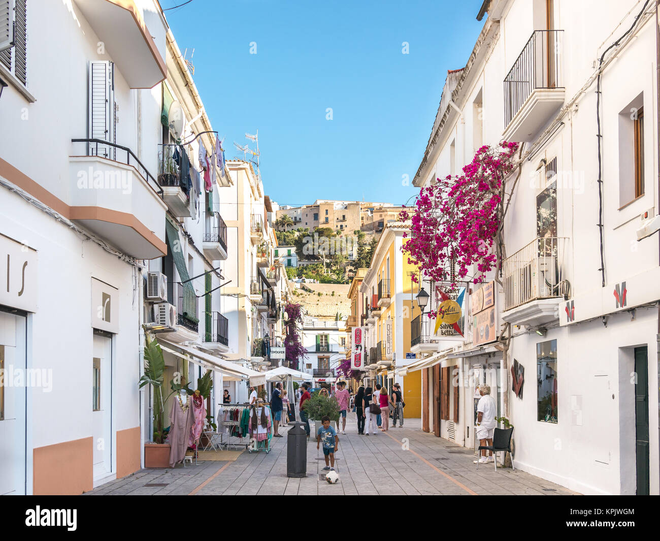 Ibiza, Spain - May 23, 2015. Little cozy and white streets in the center of the Ibiza old town. - Stock Image