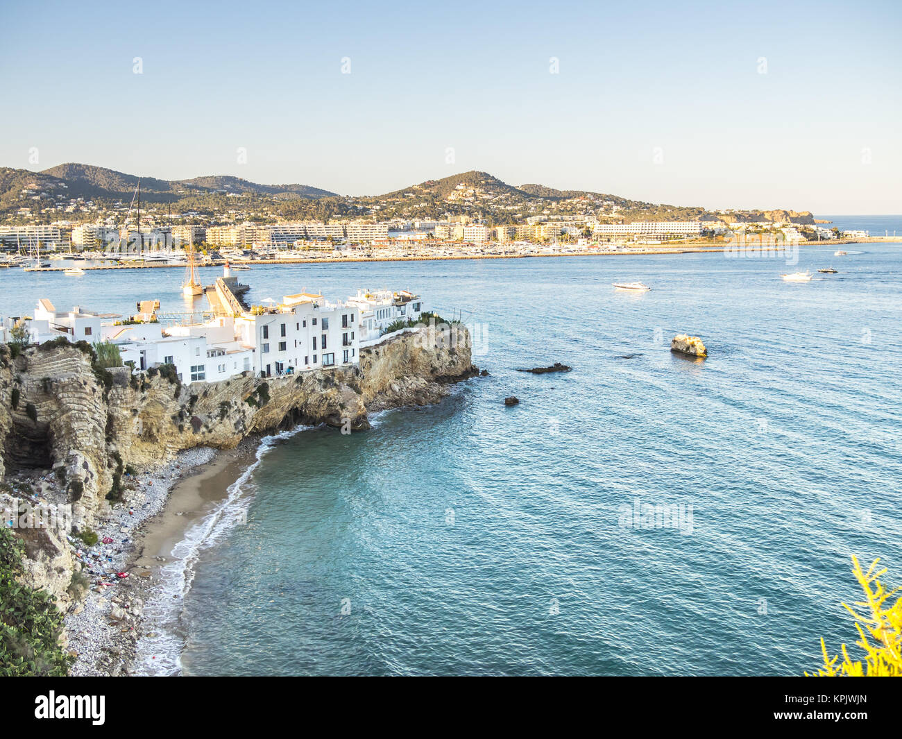 View of Ibiza houses over a cliff - Stock Image