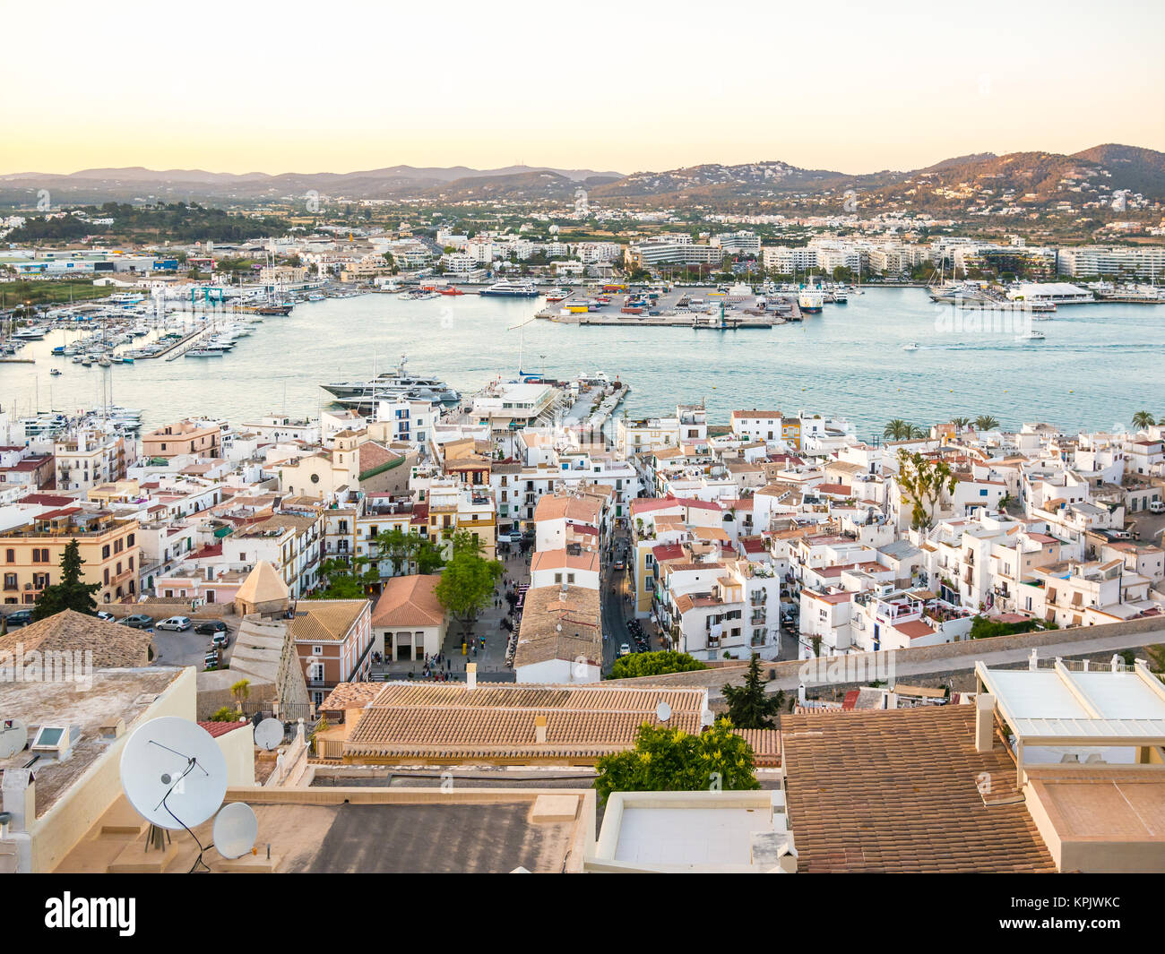 Sunset in Ibiza seen from the top of Dalt Vila - Stock Image