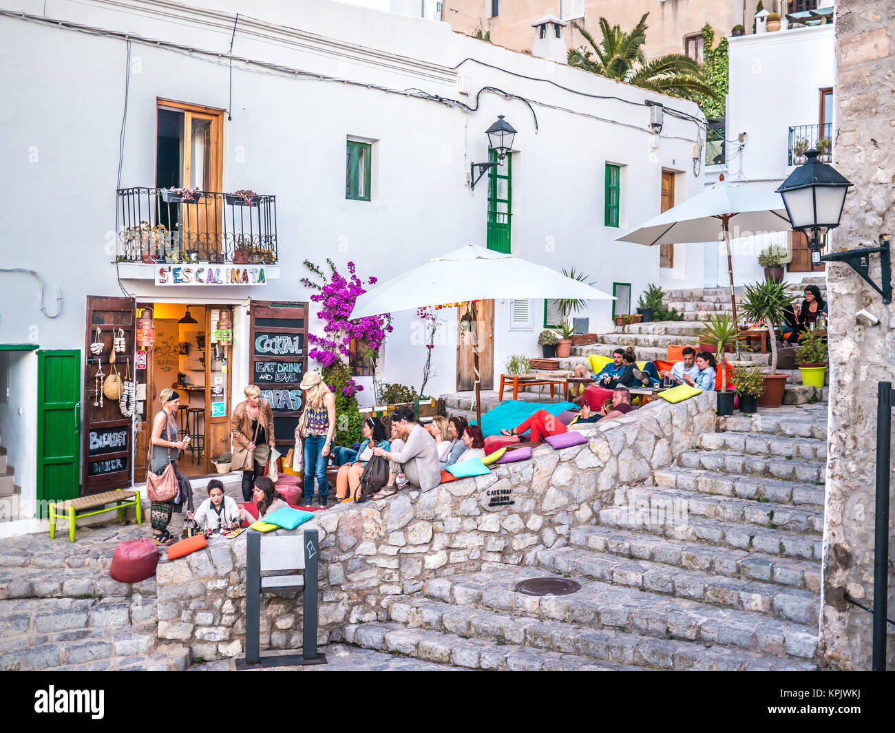 IBIZA, SPAIN - MAY 23, 2015. The Ibiza culture means to enjoy the life in the clubs and bars. Stock Photo