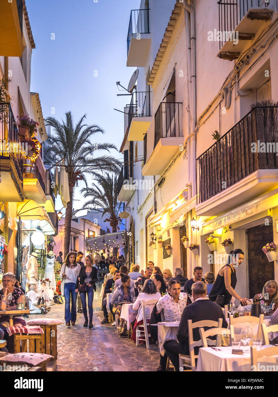 IBIZA, SPAIN - MAY 23, 2015. View of the Ibiza old town streets in Dalt Vila plenty of restaurants and businesses. - Stock Image