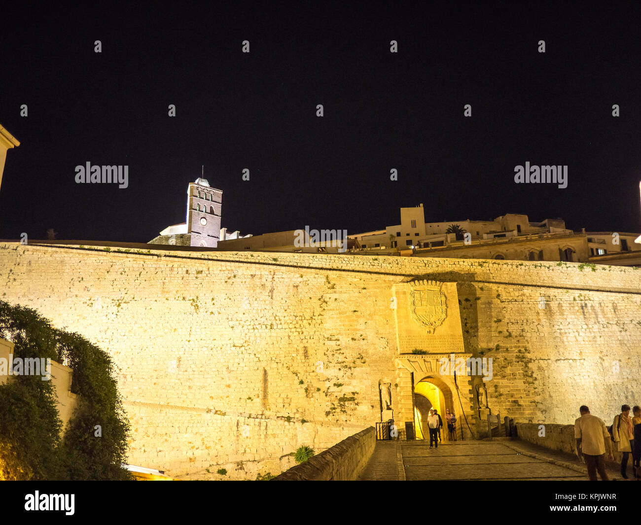 Ibiza, Spain - May 23, 2015. View of the entry ramp to the Ibiza old town fortress at night. Stock Photo
