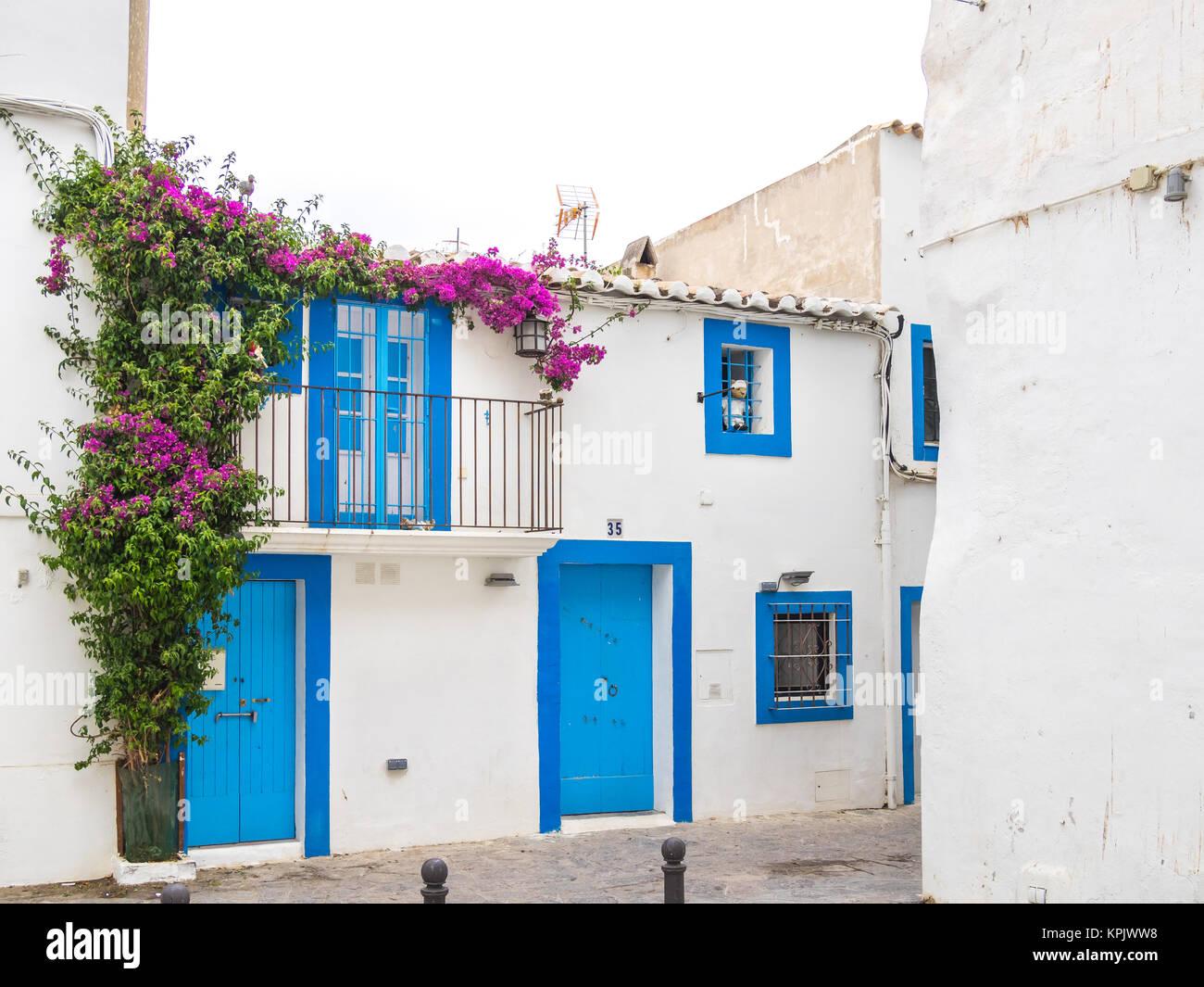 IBIZA, SPAIN - MAY 23, 2015. The distinctive Ibiza architecture reflects a mediterranean style. Stock Photo
