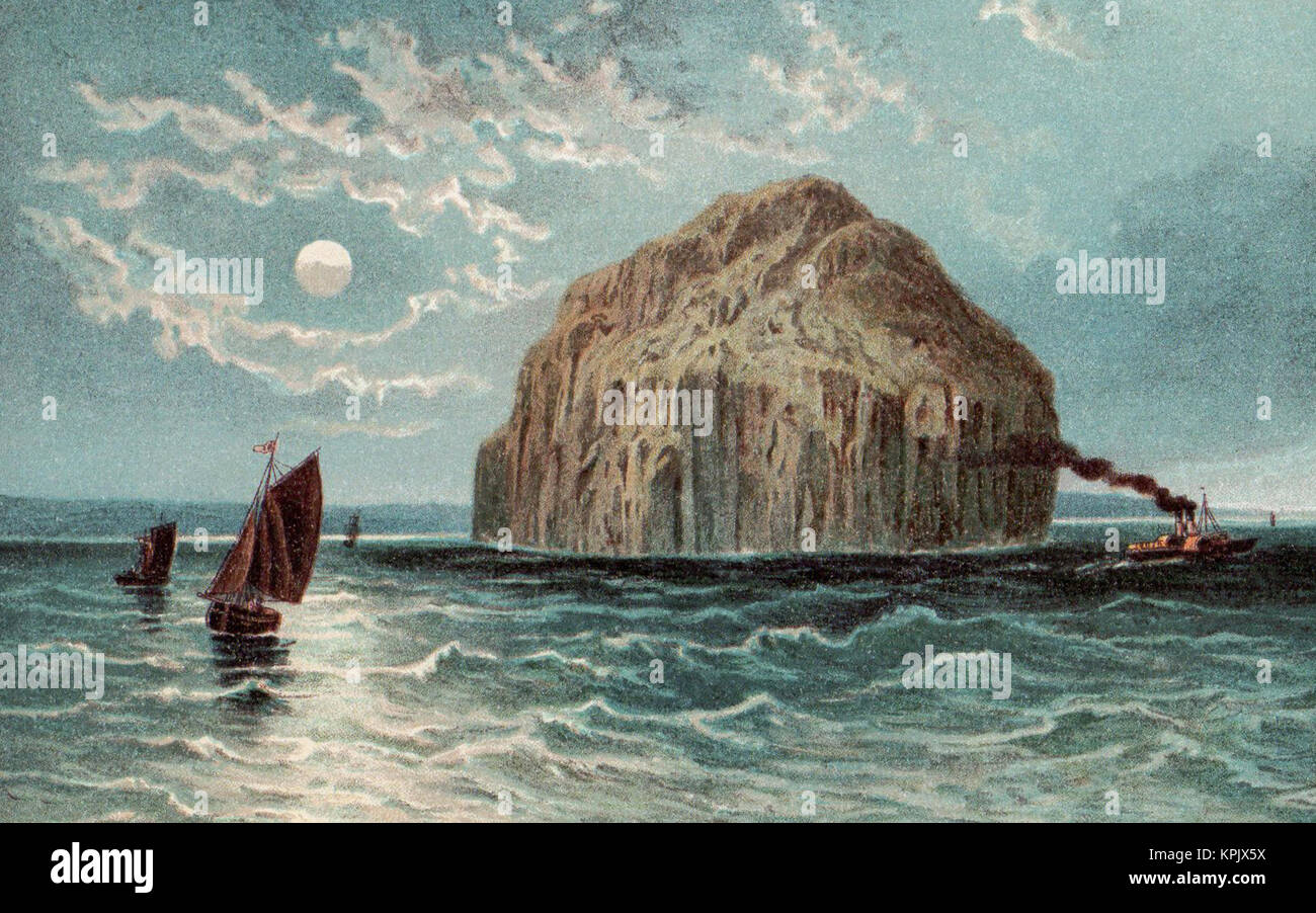 Ailsa Craig, Scotland, Victorian illustration - Stock Image