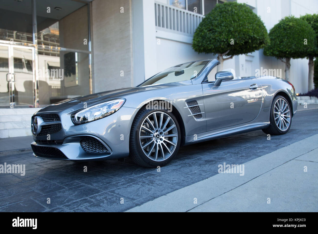 72c091f6d194c Mercedes SL 450 Convertible - Grey Exterior Front Side Angle Stock ...