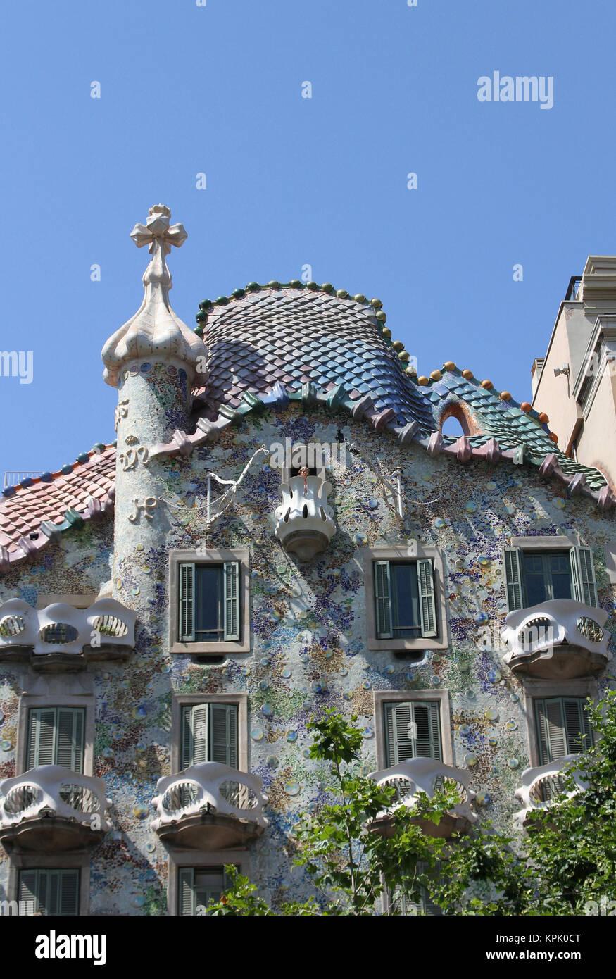Casa Batlló, Casa dels ossos (House of Bones), Barcelona, Spain. - Stock Image