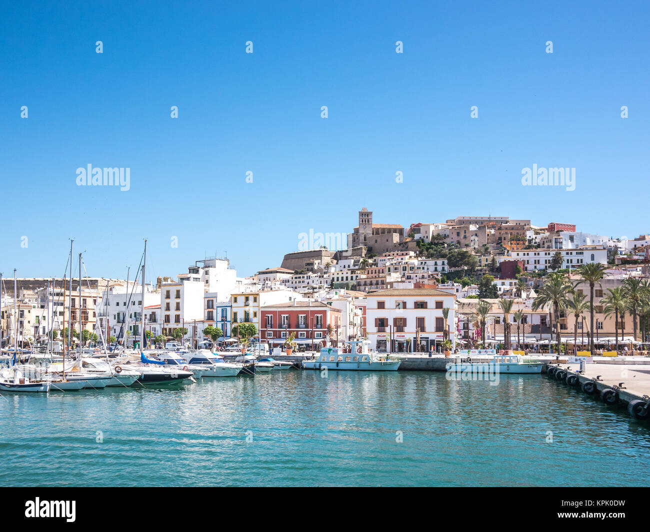 IBIZA, SPAIN - MAY 28, 2015. The distinctive Ibiza architecture reflects a mediterranean style. View of the old - Stock Image