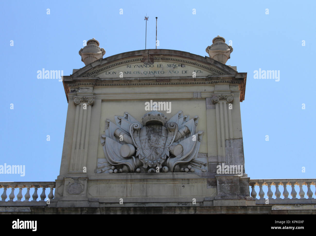 The Delegation of the Spanish Government (delegacion del Gobierno) building roof facade with Coat of Arms, Marques - Stock Image