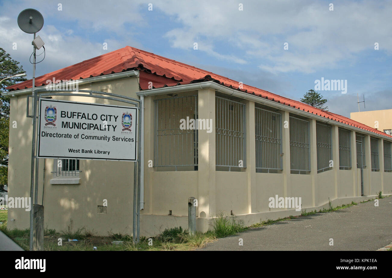 Buffalo City Municipality sign and West Bank Library building, East London, Eastern Cape, South Africa. Stock Photo