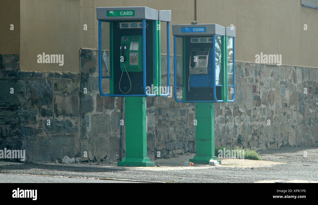 Card and coin telephone booths at East London post office, Eastern Cape, South Africa. - Stock Image