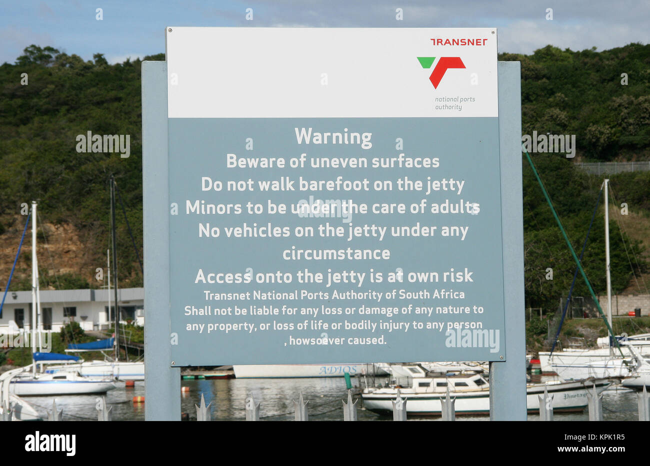 Disclaimer precaution warning sign, Transnet National Ports Authority of South Africa, Buffalo River, East London, - Stock Image