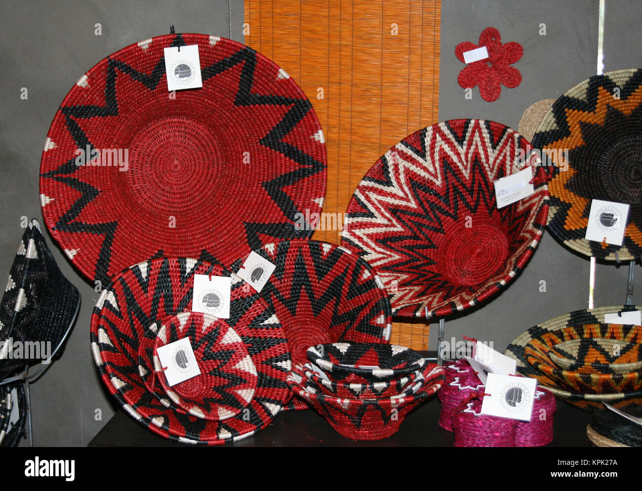 Woven basket souvenirs on display, Kingdom of Swaziland. Stock Photo