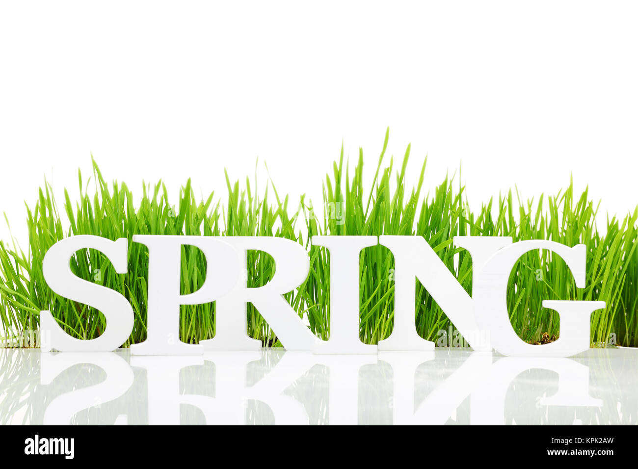 Word 'Spring' with fresh grass isolated on white - Stock Image