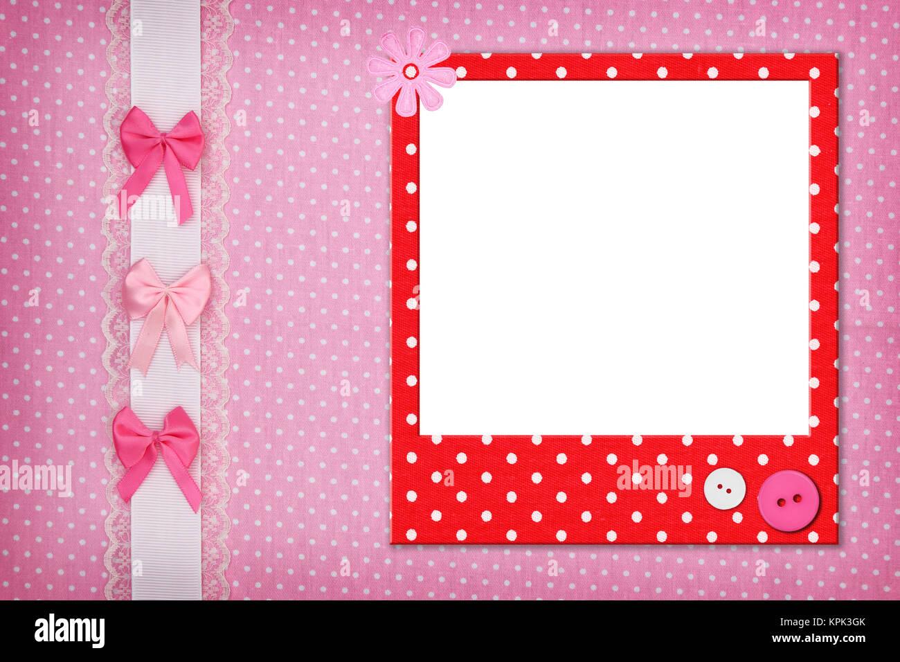 Photo frame on pink polka dot background Stock Photo: 168835651 - Alamy