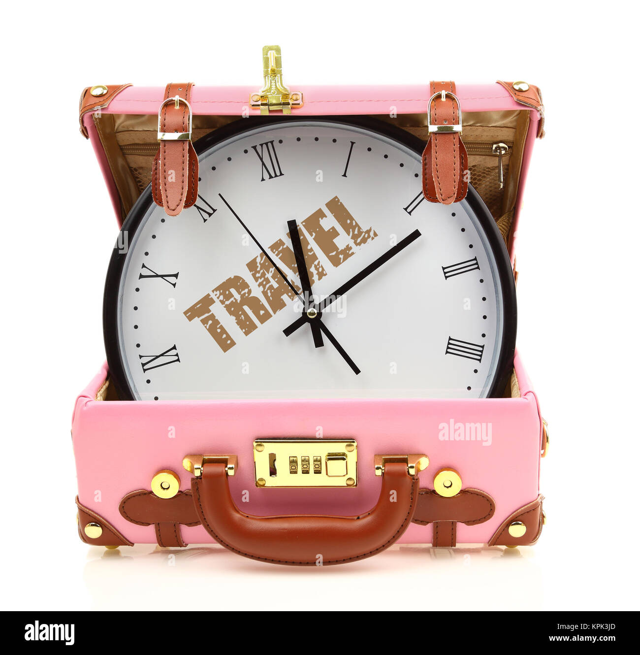 Pink travel suitcase with clock inside isolated on white - Stock Image