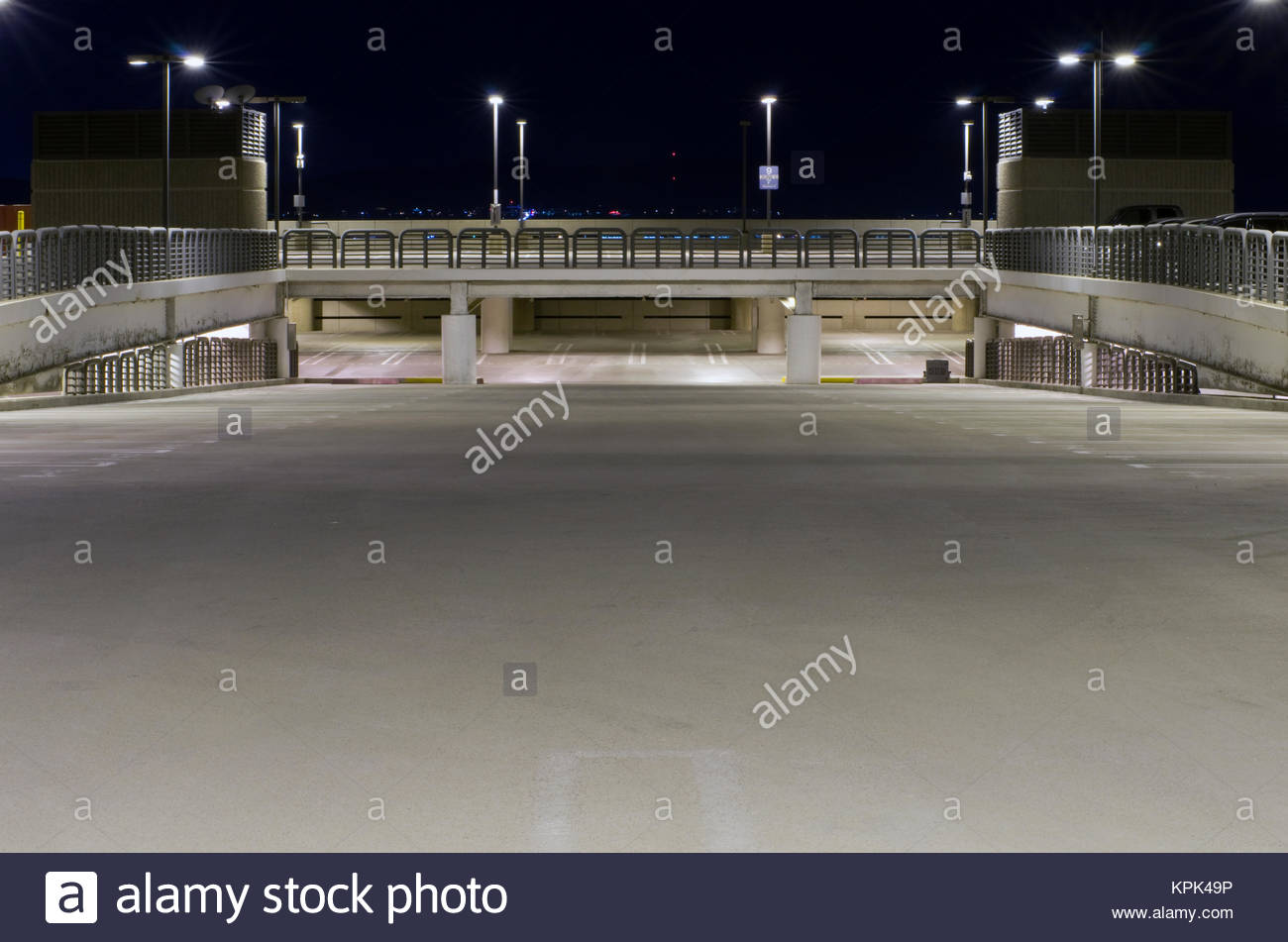 A Nighttime View Of An Empty Parking Garage At Sky Harbor Airport In