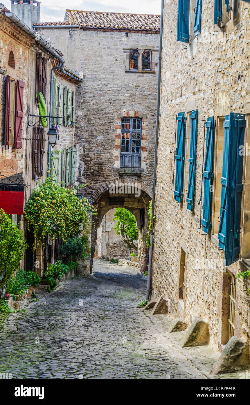 One of the medieval streets of the village of Cordes sur Ciel located in France in the midi pyrenees region - Stock Image