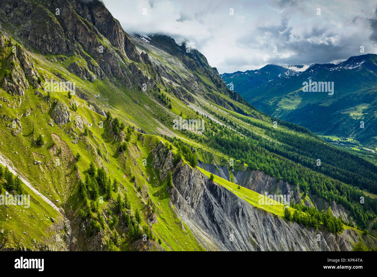 Alpine scenery of Mont blanc Range and Val Ferret, viewed from Pavillon du Mont Frety, Funivie Monte Bianco; Courmayeur, - Stock Image