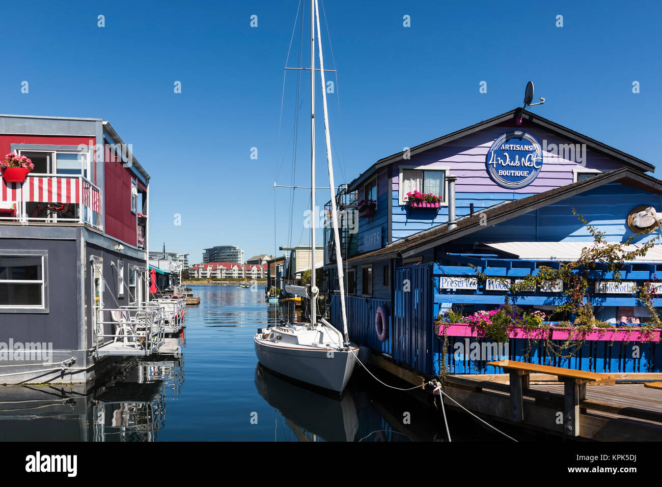 Shops and homes in Fisherman's Wharf in the Inner Harbour of Victoria, Vancouver Island; Victoria, British Columbia, Stock Photo
