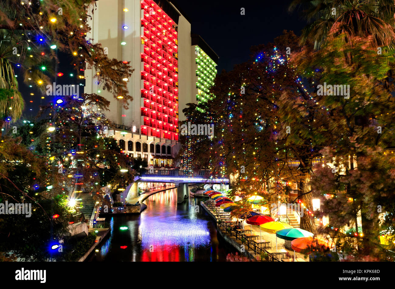 Riverwalk San Antonio Christmas.Riverwalk San Antonio Christmas Stock Photos Riverwalk San